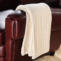 NORTH SHORE LINENS COTTON CABLE KNIT THROW