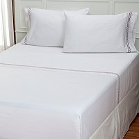 "North Shore Linens ""Zig Zag"" 300tc Embroidered 4pc Sheet Set"