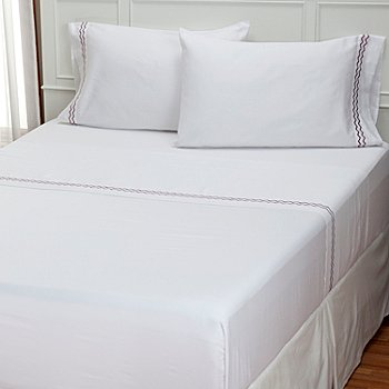 401-939 - North Shore Linens™ 300TC Embroidered Four-Piece Sheet Set