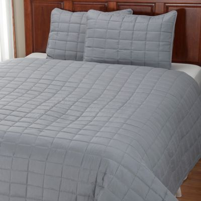 "401-947 - Cozelle® ""Grid"" Microfiber Three-Piece Coverlet Set"