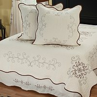 """Gloria"" Euro Sham Pair and Bedskirt Set"