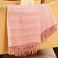 "Cozelle 50""x60"" Ridge Knotted Fringe Throw"