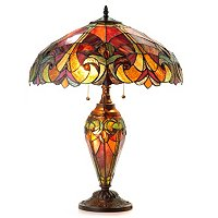 "TV - 25"" HALSTON STAINED GLASS DOUBLE LIT TABLE LAMP"