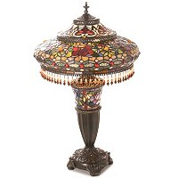 PARISIAN DOUBLE LIT BEADED TABLE LAMP