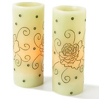 ENCHANTMENT S/2 SCENTED FLAMELESS CANDLES WITH ROSE HAND-CARVING