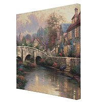 "THOMAS KINKADE COBBLESTONE COLLECTION 20"" X 20"" GALLERY WRAPPED CANVAS"
