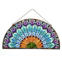 "18"" FANDELAY PEACOCK STAINED GLASS WINDOW PANEL"