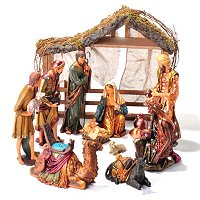13 PIECE HAND PAINTED POLYRESIN NATIVITY WITH WOOD CRECHE