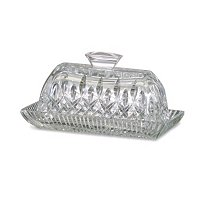 WATERFORD CRYSTAL LISMORE COVERED BUTTER DISH SIGNED BY JORGE PEREZ