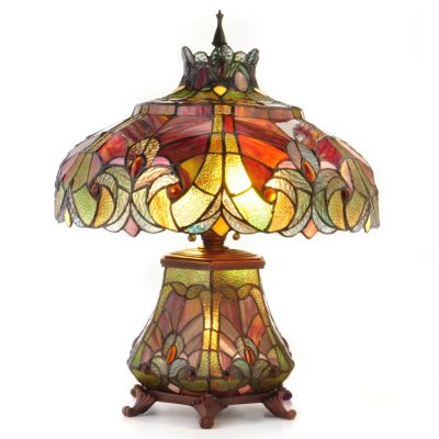 "405-238 - Tiffany Style 22"" Halston Short Stained Glass Double Lit Table Lamp"