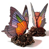 SET OF TWO DALLA STAINED GLASS BUTTERFLY TABLE LAMP