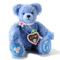 HAPPY OCTOBERFEST BAVARIAN BEAR WITH HEART BLUE MOHAIR