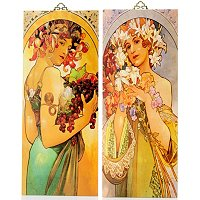 SET OF TWO AROMA OF SPRING MUCHA PANELS