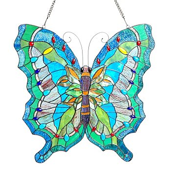 405-654 - Tiffany Style 23'' Ocean Butterfly Stained Glass Window Panel