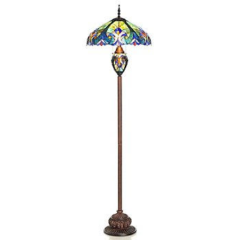 405-802 - Tiffany Style 65'' Halston Double Lit Stained Glass Floor Lamp