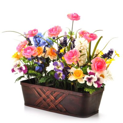 "405-871 - Style at Home with Margie 22"" Pre-Lit LED Vibrant Blossoms Floral Box"