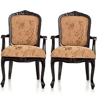 S/2 Edwardian Style Hand Carved Arm Chairs