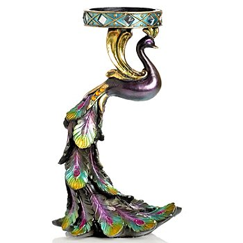 405-965 - Style at Home with Margie 10'' Sweeping Peacock Candle Holder