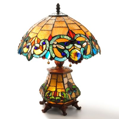 "405-998 - Tiffany Style 18"" Corrista Short Double Lit Stained Glass Table Lamp"