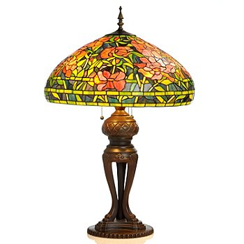 406-034 - Tiffany Style 34'' Elaborate Peony Stained Glass Table Lamp