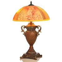 Mucha Four Seasons Handpainted Lamp