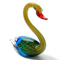 Hand Blown Art Glass Swan Figurine