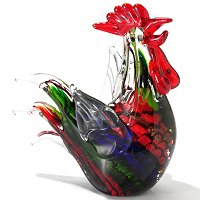 Hand Blown Rooster Figurine