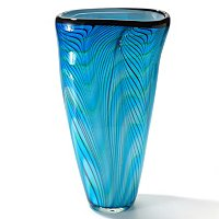 Hand Blown Art Glass Electric Blue Vase