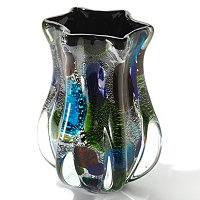 Hand Blown Art Glass Multi Color Vase