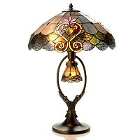 Tiffany Style Crystal Shell Double Lit Table Lamp