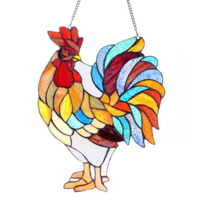 "406-127 - Tiffany-Style 15.5"" x 12"" Cock-a-Doodle-Doo Hanging Stained Glass Window Panel"