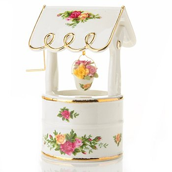 406-181 - Royal Albert® Old Country Rose 6'' Porcelain Musical Wishing Well
