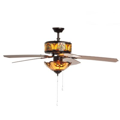 "406-188 - Tiffany-Style 52"" Touch of Elegance Double-Lit Stained Glass Ceiling Fan"