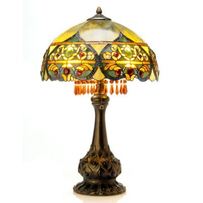 "406-211 - 26"" Ombre Beaded Crystal Stained Glass Table Lamp"