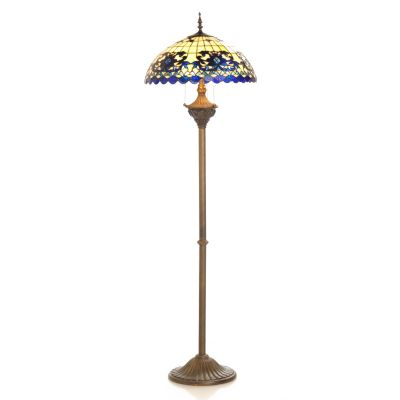 "406-213 - Tiffany-Style 65"" Sapphire Opal Stained Glass Floor Lamp"