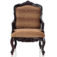 HAND CARVED UPHOLSTERED LEOPARD ARM CHAIR