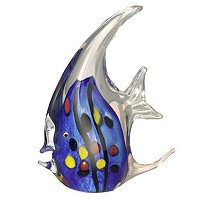 Favrile Art Glass Hand Blown Blue Angel Fish