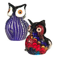 Favrile Art Glass Hand Blown Owl Figurine Set