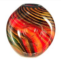 Favrile Art Glass Hand Blown Striped Heart Vase
