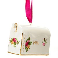 Royal Albert Old Country Rose Figural Holiday MailboxOrnament