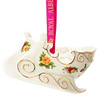 Royal Albert Old Country Rose Figural Holiday Sleigh Ornament
