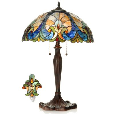 "406-298 - Tiffany-Style 24"" Halston Stained Glass Table Lamp & Nightlight Set"