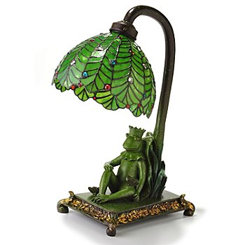 406-384 - Tiffany-Style 18.5'' Frog King Stained Glass Accent Lamp