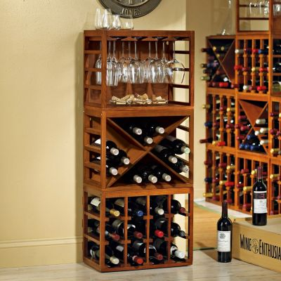 407-512 - Wine Enthusiast Cube-Stack Wine Bottle & Stemware Rack Set