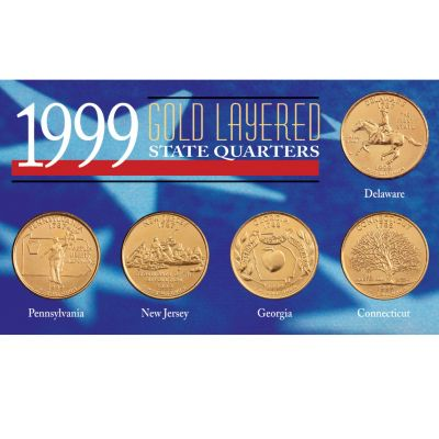 411-608 - 1999 Gold-layered Statehood Five Piece Quarter Set