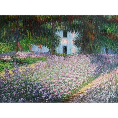 "412-149 - Artist's Garden At Giverny By Claude Monet Reproduction  34"" X 46"" Oil Painting On Canvas"