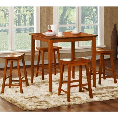 "414-360 - HomeBasica Oak Five-Piece Pub Set w/ 24"" Stools"