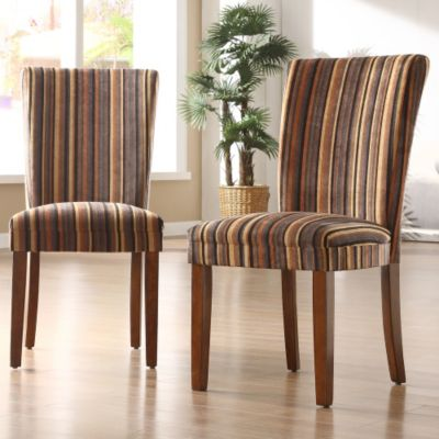 414-389 - STRIPE PRINT DINING CHAIRS (SET OF 2)