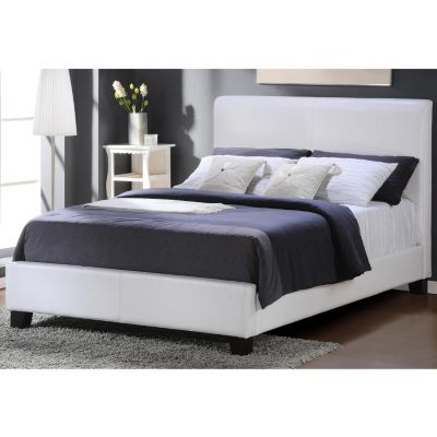 Sizequeen  on Homebasica White Faux Leather Queen Size Bed Shopnbc Com