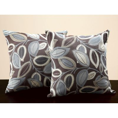415-891 - HomeBasica Leaves Print Brown & Grey Throw Pillows Pair